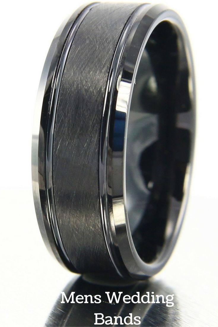 Mens wedding bands! Amazing all black tungsten carbide wedding band with two channel grooves and a brushed center. I also love the black polished edges on this ring. I have to get this ring for my husband.