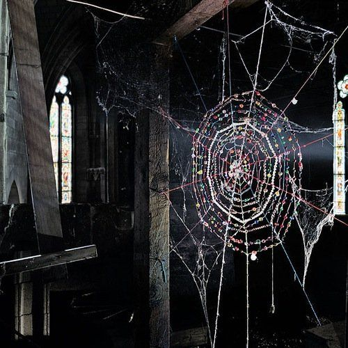 pretty: Mister Finch, Window, Beads Spiders, Dreams Catcher, Beautiful, Art, Beads Curtains, Abandoned Church, Spiders Web