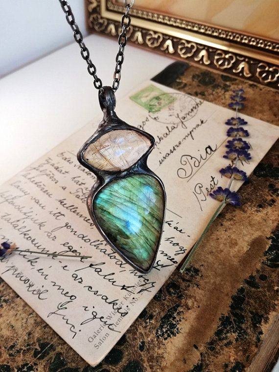 Check out this item in my Etsy shop https://www.etsy.com/listing/461591496/big-labradorite-necklace-rutile-quartz
