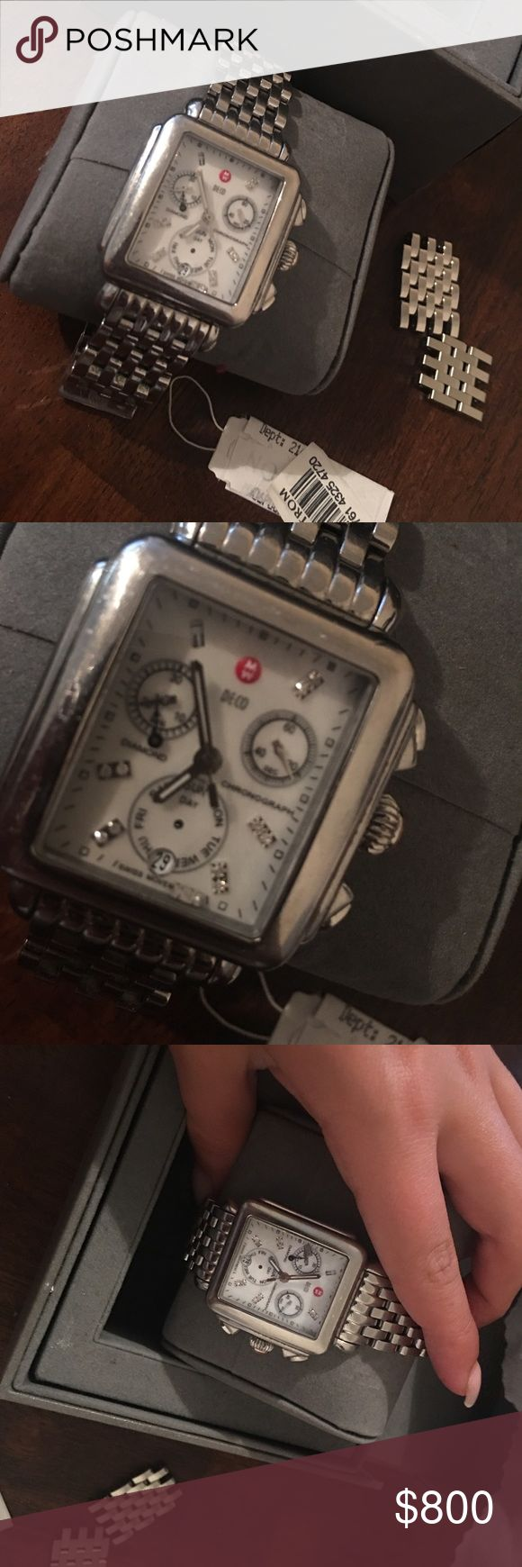 Michele Deco Large Face Watch Love this watch! Very few scratches along sides. Diamond on inside fell out, can easily be fixed. In great condition. Additional links are included.. can negotiate price Michele Jewelry