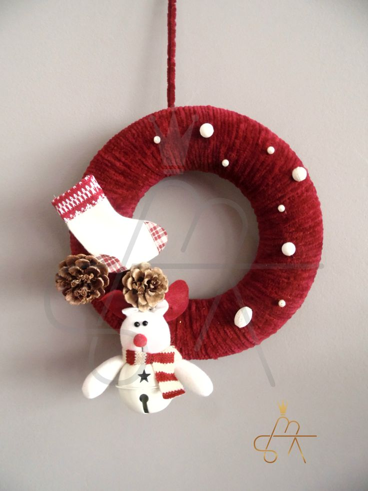 Handmade Christmas Wreath !!! Χειροποιητο πλεκτο στεφανι με διακοσμητικα - λεπτομεριες για να στολισει την εξωπορτα σας!!! (code ST115)
