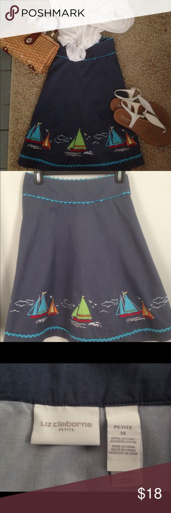 """Sail away in this cute summer skirt! Liz Claiborne Petite 14. Marine blue cotton with robin's egg blue ric rac at the waist and hem. A-line with a little swing to it! Colorful boats sail  along the hemline. Waist measures 36"""" and it's 22"""" in length. Cute and classy! Liz Claiborne Skirts A-Line or Full"""