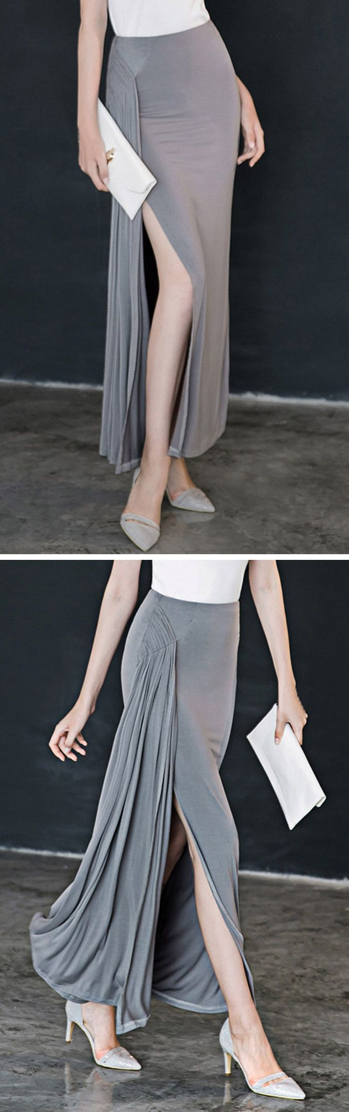 Ruched split maxi skirt