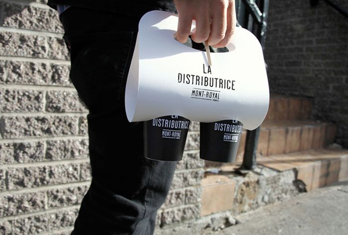 Clever Coffee Carrier by La Distributrice: Smallest cafe place in North America - via The Dieline