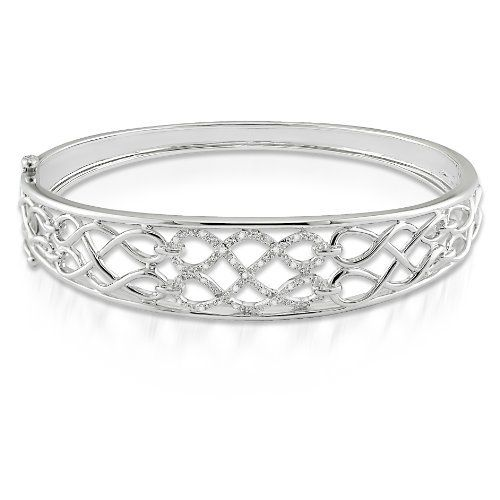 "Sterling Silver, Diamond Bracelet, (.1 cttw, GH Color, I2-I3 Clarity), 7"" Amour. $134.99. Save 50%!"
