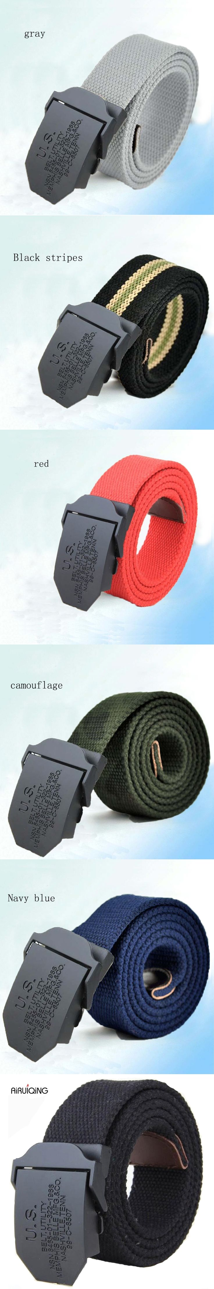 hot 2017 fashion mens canvas belt High quality luxury belt men brand outdoor sport Military jeans belts black army green 110 140