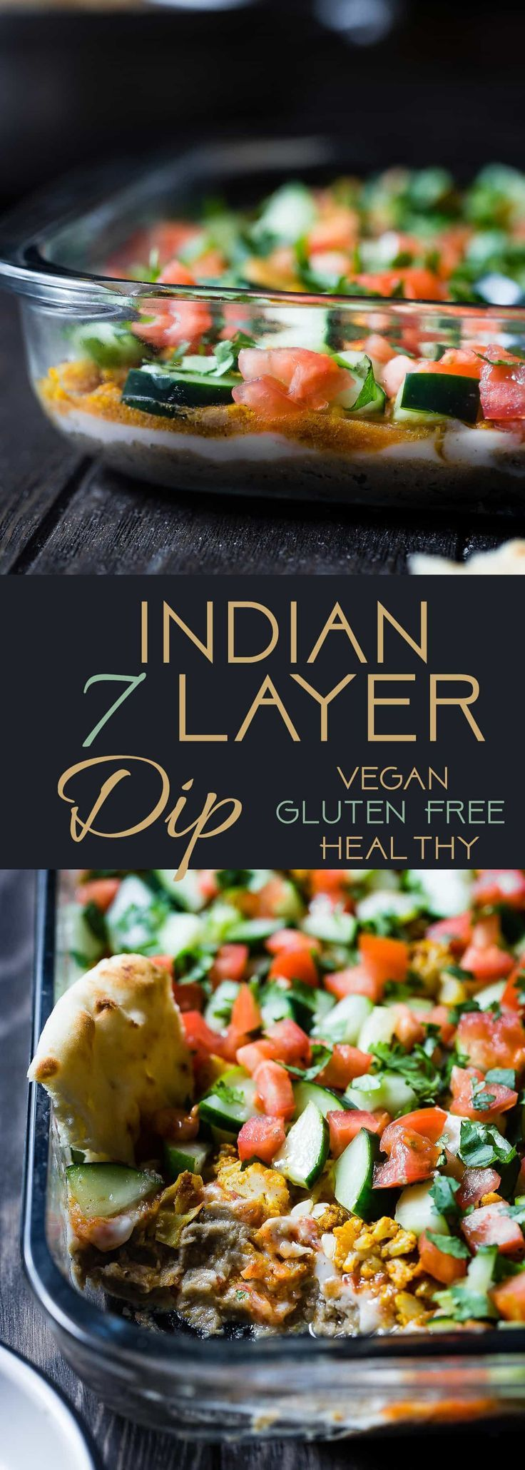 Healthy Indian 7 Layer Dip - The classic 7 layer dip recipe gets a healthy, Indian makeover! This dip is loaded with spicy, ethnic flavors and is gluten free and vegan friendly too! It's only 170 calories and perfect for game day! | Foodfaithfitness.com | @FoodFaithFit