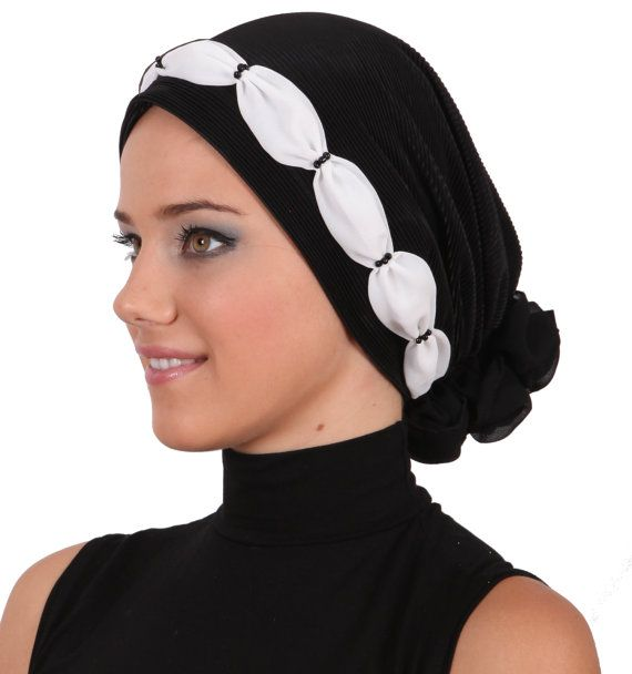 Shirred & Beaded Headwear for Hairloss, Cancer, Chemo - Black/White