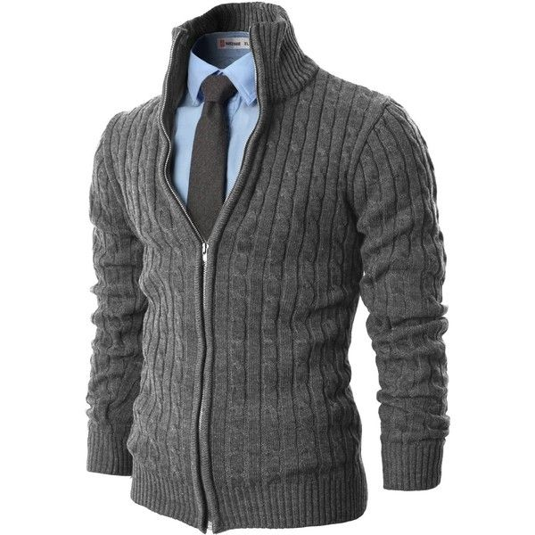 H2H Mens Casual Knitted Cardigan Zip-up with Twisted Pattern ($40) ❤ liked on Polyvore featuring mens, men's clothing, men's sweaters, men, blusas de frio masculina and guy