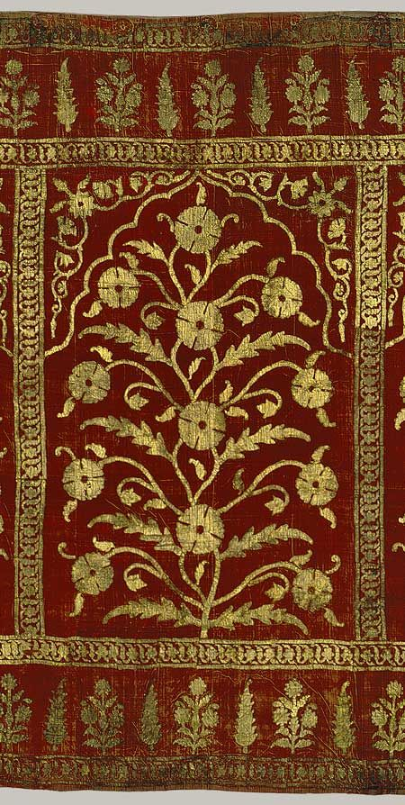 Stunning! ca .1616–35 Indian Silk, Gold leaf, Cut-velvet.  From the interior of a tent-complex probably for Raja Jai Singh-1 of Amber (Jaipur, Rajasthan).