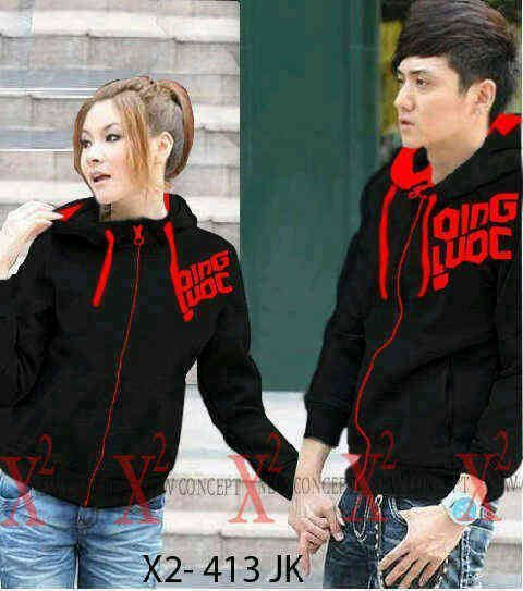 jaket Couple qing red black hodie