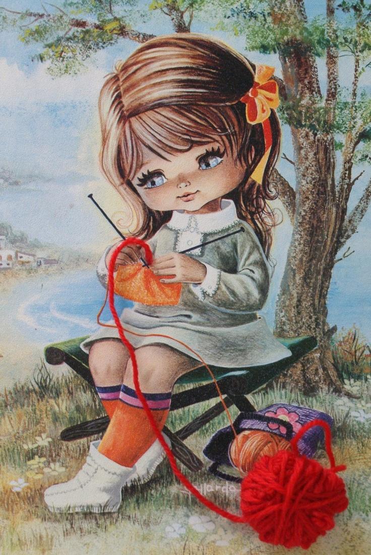 Big Eye girl knitting