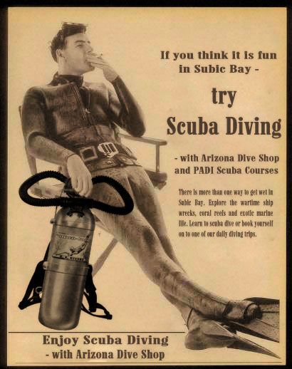 vintage scuba advertising - I don't think this approach works too well now!