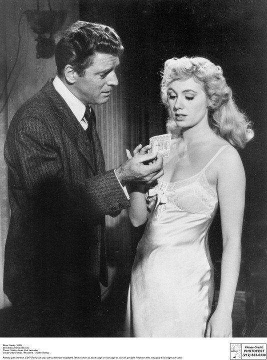 """[CAST] Burt Lancaster (1913–1994) as Elmer Gantry, and Shirley Jones (1934- ) as Lulu Bains in """"Elmer Gantry"""", 1960"""