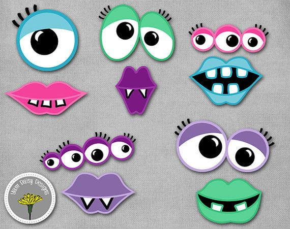 Girly Monster Photo Props, Printable, Instant Download, Monster eyes and mouths - PERSONAL USE ONLY