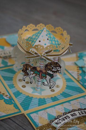 Boîte à explosion Carrousel avec le set de tampons Carousel Birthday de Stampin'Up!