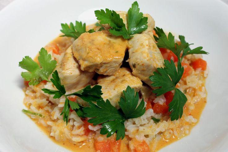 Poulet au curry, lait de coco, riz par Alain Ducasse