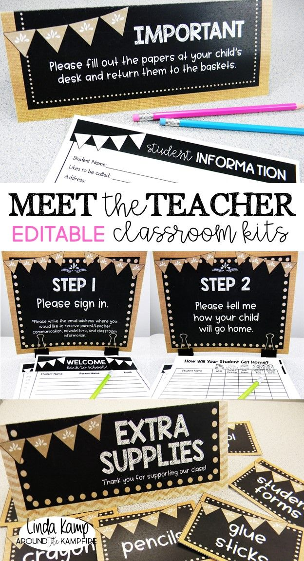 Back to school night can be as overwhelming as it is exciting.  Take the stress out of Meet the Teacher open house with these completely editable classroom kits. Collect the back to school info you need with 10 different parent forms. Step-by-step parent procedure signs and table tents ensure that parents know what to do while you meet and greet students. Includes an adorable giving tree and back to school student gifts, too!  Burlap and chalkboard decor theme.