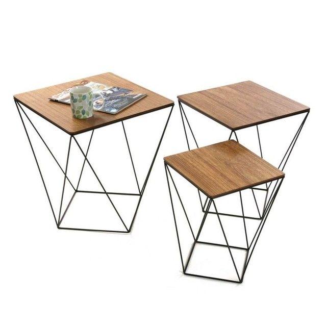 Lot De 3 Tables D Appoint Carrees Plateau Bois Et Pieds Metal Facon Polygone 45x45x50cm Landaise Pier Import La Red Table D Appoint Table Moderne Table Basse