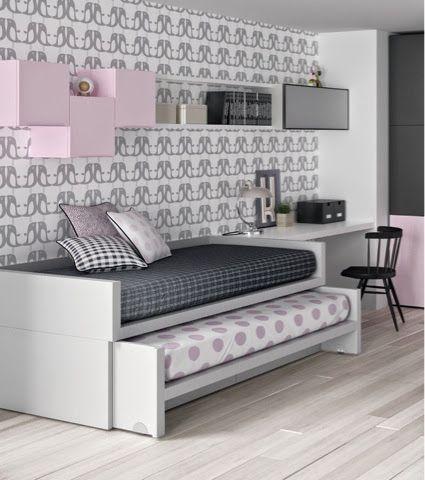 cama compacta con cama desplazable