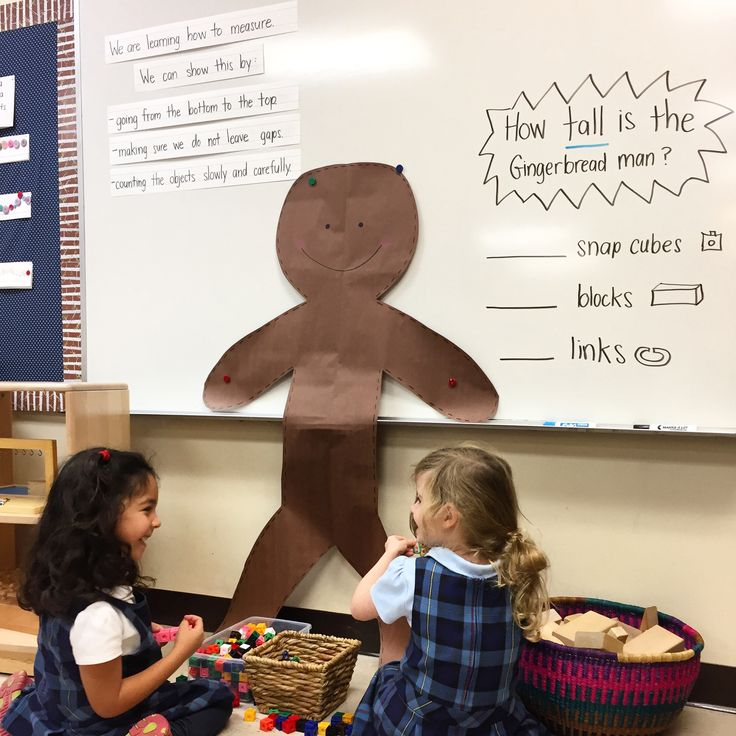 In this activity the students are measuring how tall the gingerbread is using nonstandard measuring units.