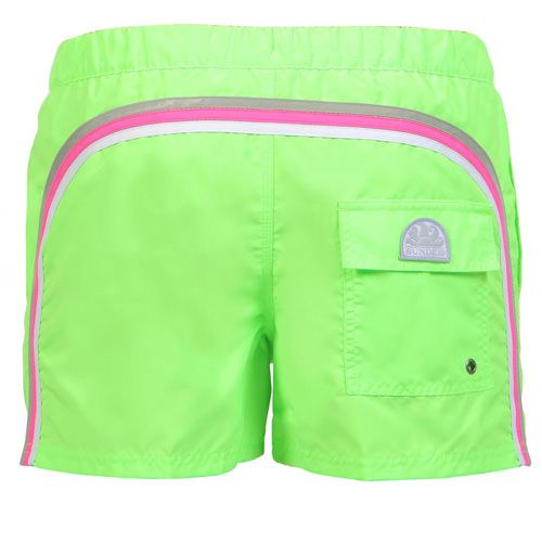 SWIM SHORTS WITH ELASTIC WAISTBAND AND BUTTON CLOSURE COLOR FLUO GREEN Fluo green short boardshorts with the three classic rainbow bands on the back. Elastic adjustable waistband. Snap button fastening and zip fly. Internal mesh. Two front pockets. A Velcro back pocket. Sundek logo on the back. COMPOSITION: 100% POLYESTER.