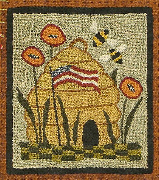 pattern primitive punch needle punchneedle embroidery kit bee skeep bumble…