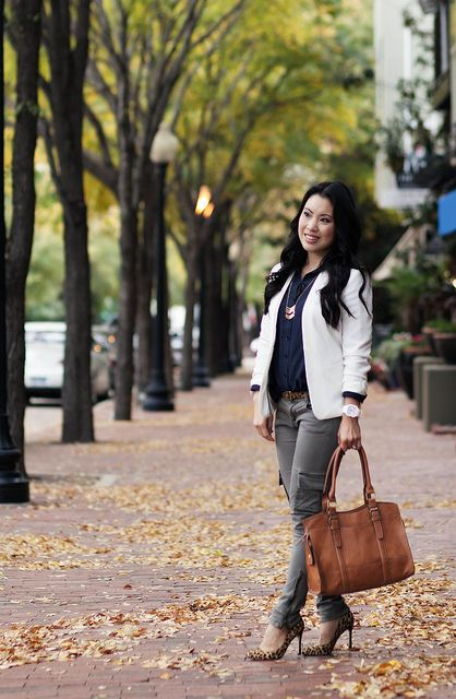 cute & little blog | white blazer, navy shirt, skinny cargo pants, leoprad pumps | fall layers transition outfit by kileencheng, via Flickr