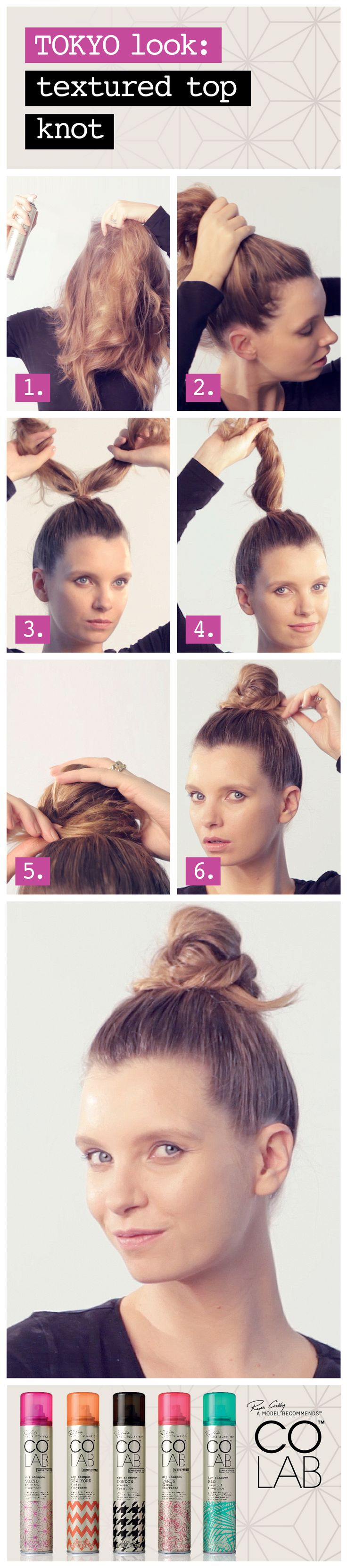 Learn how to create the perfect textured #TopKnot with COLAB dry shampoo, featuring COLAB sheer + invisible #Tokyo.  Available at Superdrug, Feel Unique & Beauty Mart (UK),  Penneys (Ireland),  London Drugs, Lawtons Drugs & Pharmasave (Canada), Jean Coutu & select Uniprix, Brunet & Familiprix (Quebec).  www.colab-hair.com #Hair #Beauty #HairTutorial #HowTo #RuthCrilly #ModelRecommends #ColabHairConvert