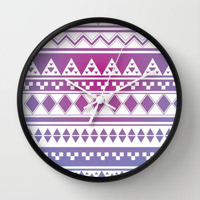 Rainbow Aztec Wall Clock by clickybird - Belinda Gillies - $30.00