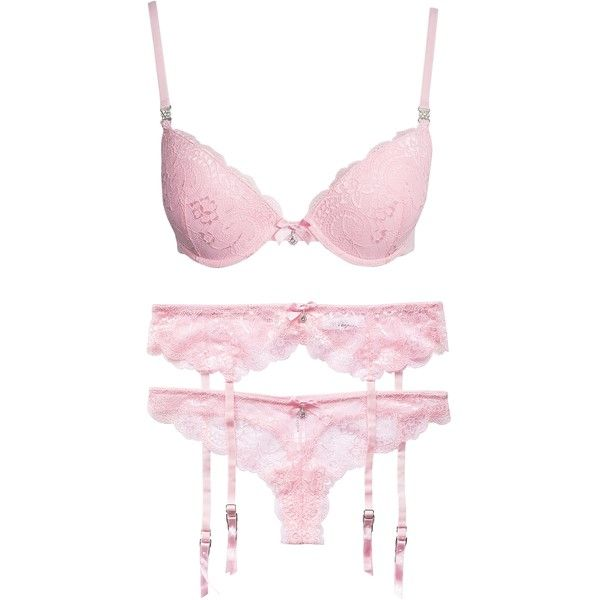 Nly Lingerie Sexy Lace Push-Up Set ($52) ❤ liked on Polyvore featuring intimates, lingerie, complete sets, dusty pink, underwear, womens-fashion, bow lingerie, garter lingerie, sexy lace lingerie and lace lingerie