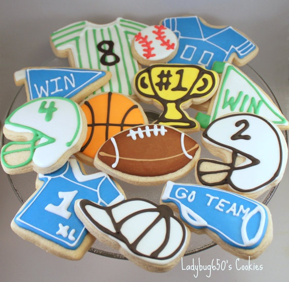 Sports Cookies handmade & iced One dozen by ladybug650 on Etsy, $32.00