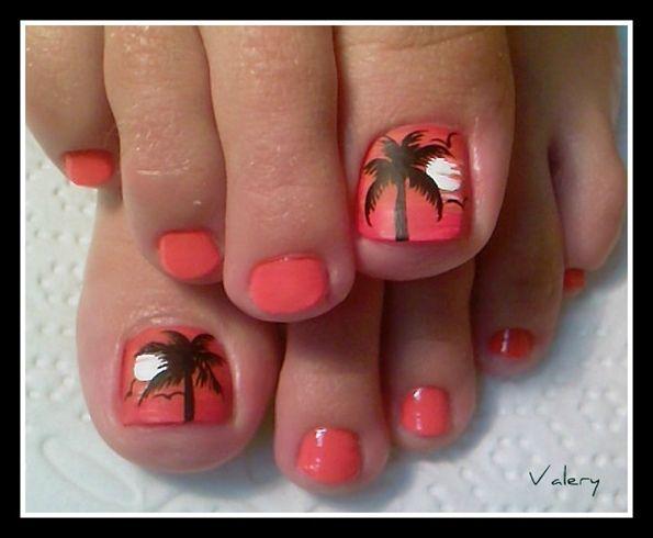 palm tree toenails. Cute for summer..........or Aruba! 5 more weeks!!!