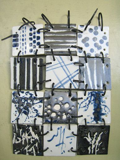 hand-built, porcelain tiles, wax resist, black and clear glaze, high-fired, laced with black computer ties