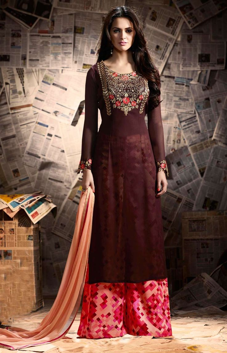 Brown party wear Indian Punjabi straight fit Kurta with printed plazzo pant
