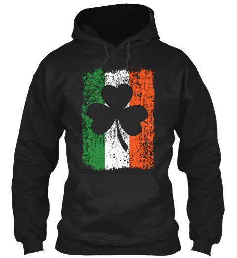 Irish Flag And Shamrock Black Sweatshirt Front