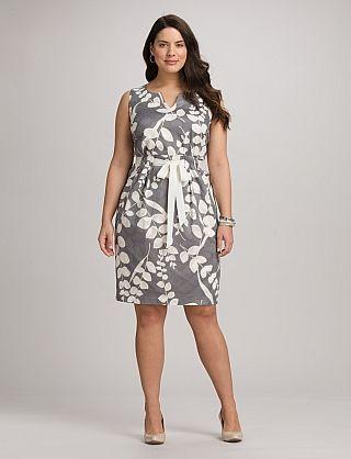 Plus Size Textured Leaf Print Dress | Dressbarn
