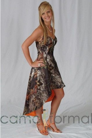 Extreme hi-low camo bridesmaids dress with hunter's orange lining from camoformal.com