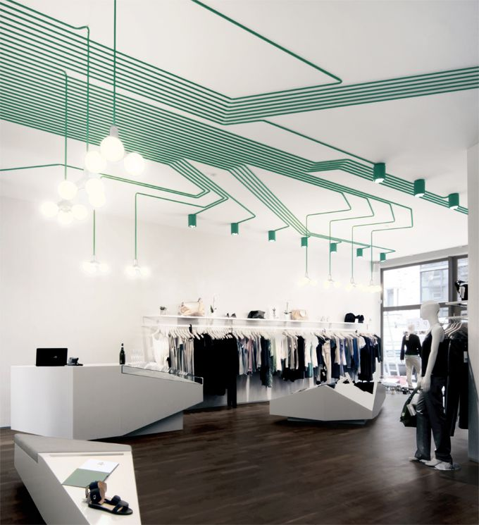 ceiling/lighting/display  very cool lighting, love use of colour and the shapes created by wires
