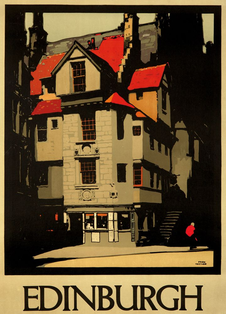 Edinburgh. 1930 - Poster  Description: Artist: FRED TAYLOR (1875-1963) Size: 22 5/8 x 31 5/8 in./57.6 x 80.5 cm Taylor's many designs for the LNER typically focus on an area's most iconic architecture - this quaint design for Edinburgh being no exception.