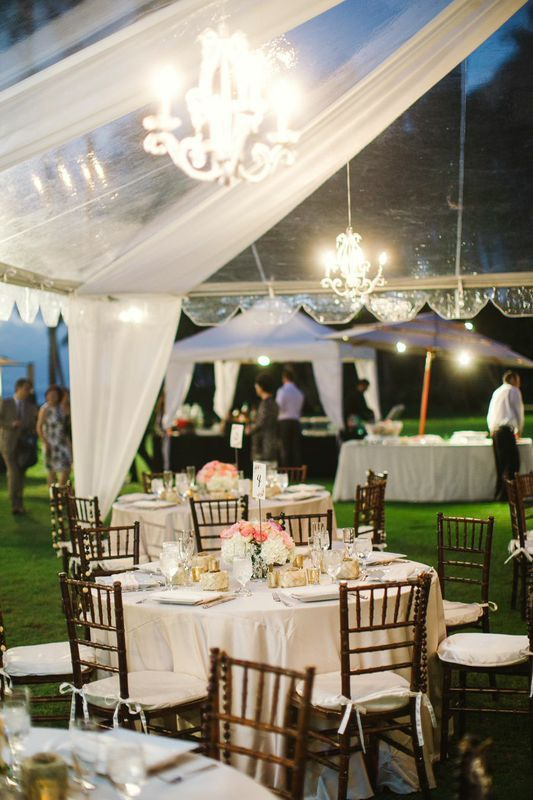 Clear Tent with Drapery and Crystal Chandeliers! Love this look, especially with the dark chairs on the lush green grass. Stunning!