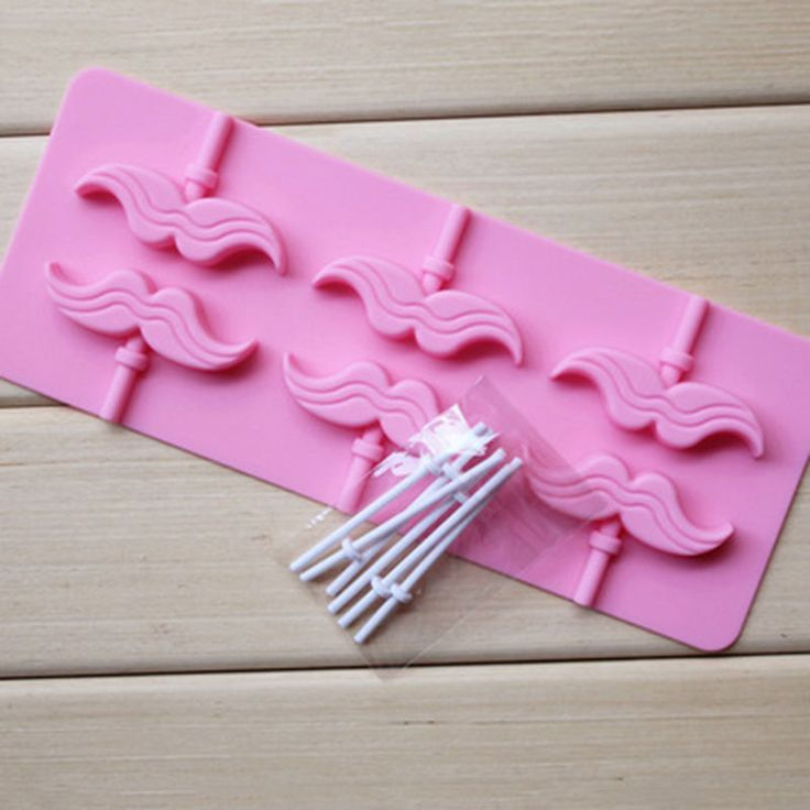 6 Mustaches Design Silicone Chocolate Lollipop Mold with Sticks Baking Tool | eBay