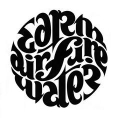 ambigram - John Langdon - earth air fire water.  ---------------------------------------  This would make an excellent tattoo
