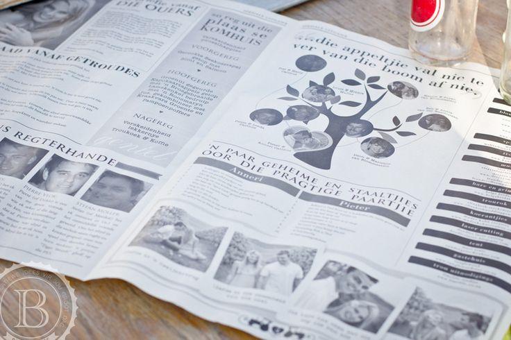 Wedding newspaper design by Madre Kohn Creative - www.madrekohncreative.co.za