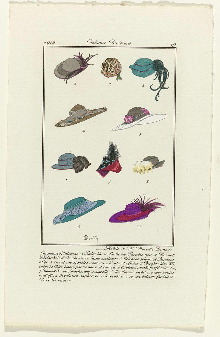 Anonymous | Accessories, Anonymous, Marcelle Demay, 1912 | Tien verschillende hoeden voor de herfst van  Marcelle Demay. Prent uit het modetijdschrift Journal des Dames et des Modes (1912-1914).