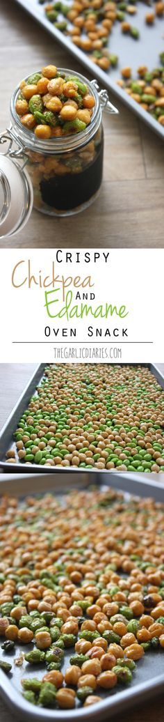 Crispy Chickpea and Edamame Oven Snack TheGarlicDiaries.com