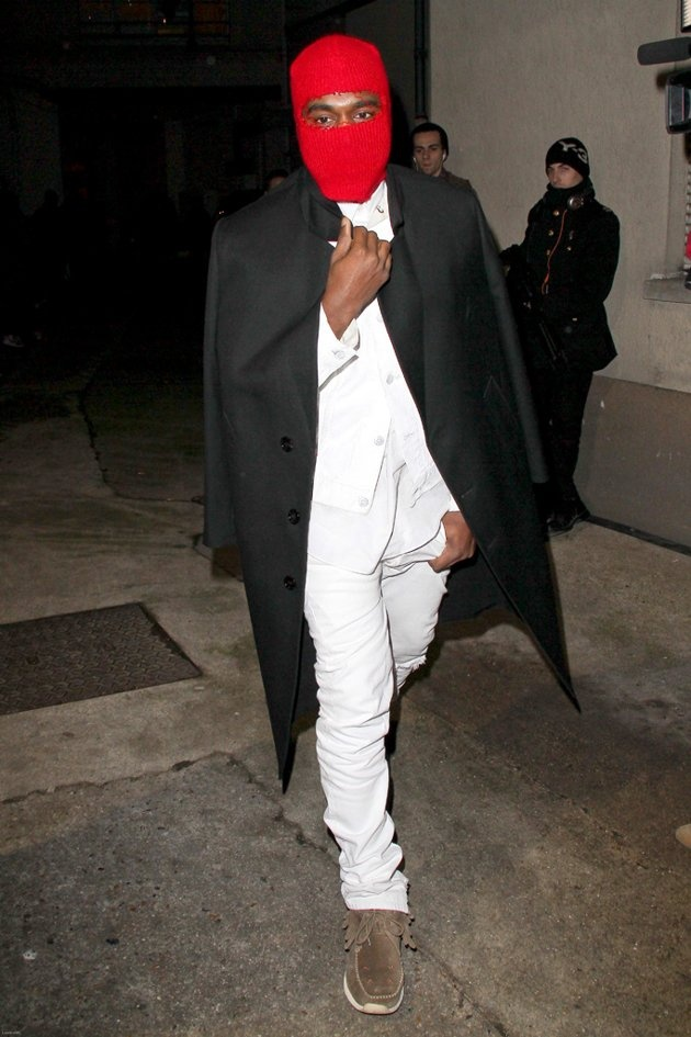 Ever the trendsetter, Kanye West was spotted sporting this creepy red ski mask while braving the brisk Parisian weather earlier this week. In addition to his homemade headgear – which featured a single slit to see through – the daddy-to-be donned a cape-like coat and fringe-adorned boots. Will the rapping reality star ever come to terms with the fact that we'll never see him as a superhero? (1/23/2013)