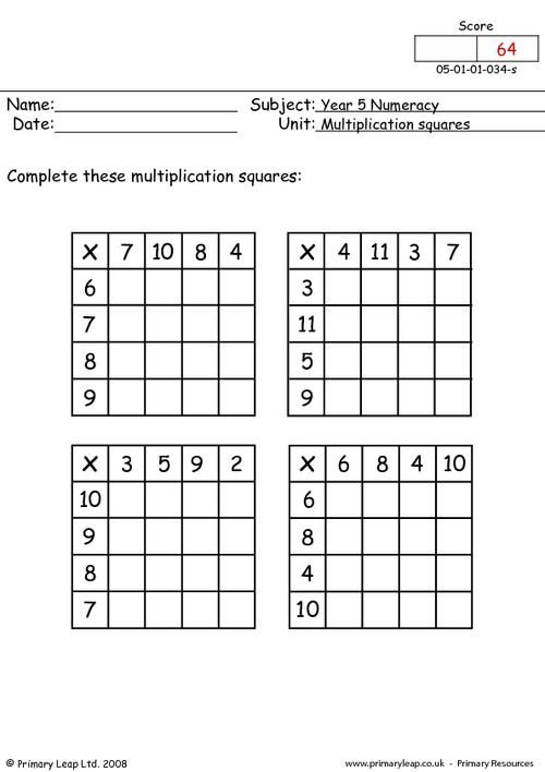 multiplication squares worksheet fun teaching ideas multiplication. Black Bedroom Furniture Sets. Home Design Ideas
