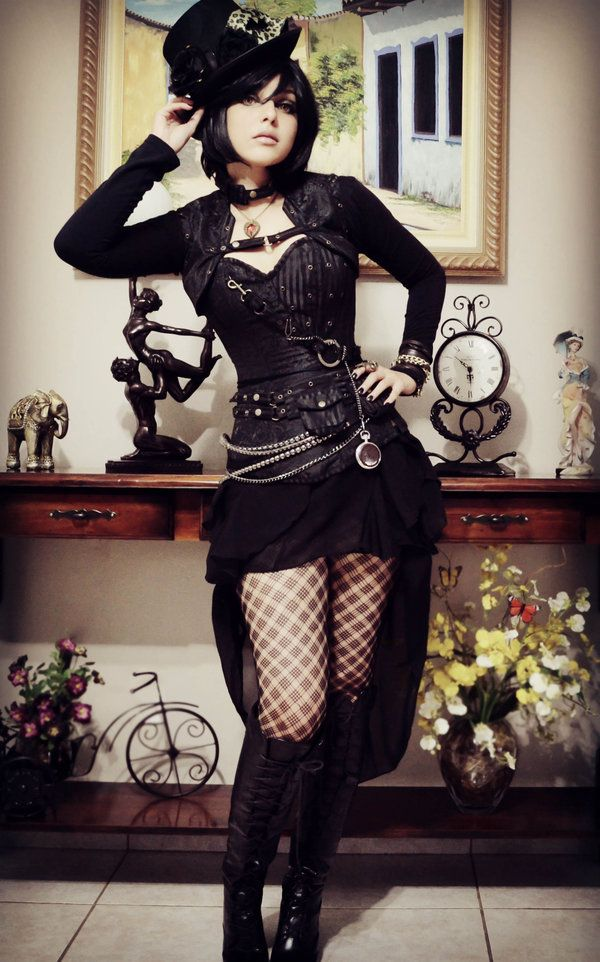 "steampunksteampunk: ""Shermie-Cosplay "" Longer skirt with spider web stockings for Spider - add silver details"