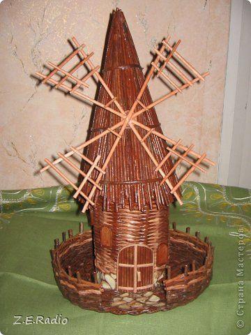 Поделка изделие Плетение мельница моя Бумага газетная Трубочки бумажные фото 1